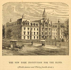 1872 New York Institution for the Blind Architecture - ORIGINAL HISTORIC NY9