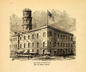 1872 Eastern Dispensary Medical NYC Architecture Print ORIGINAL HISTORIC NY9
