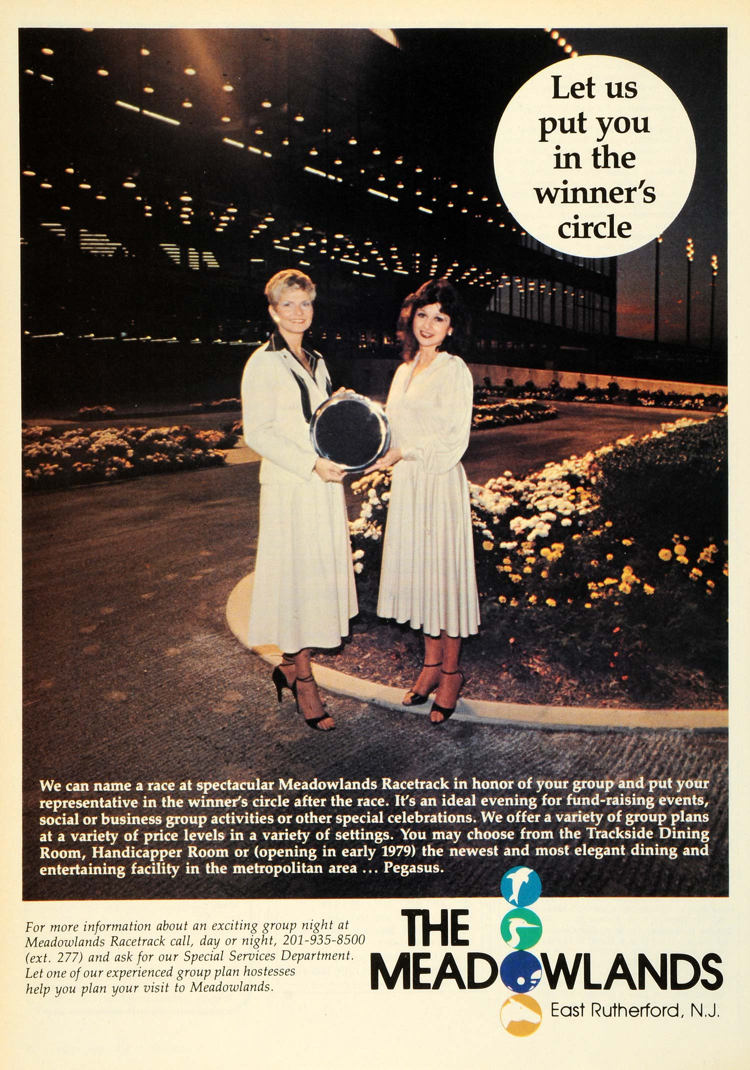 1979 Ad Meadowlands Entertaining Facility Racetrack Winners Circle E NYM1