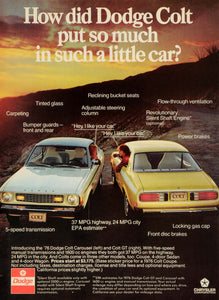 1976 Ad Chrysler Corp Dodge Colt Carousel GT Automobile Logo Motor Vehicle NYM1