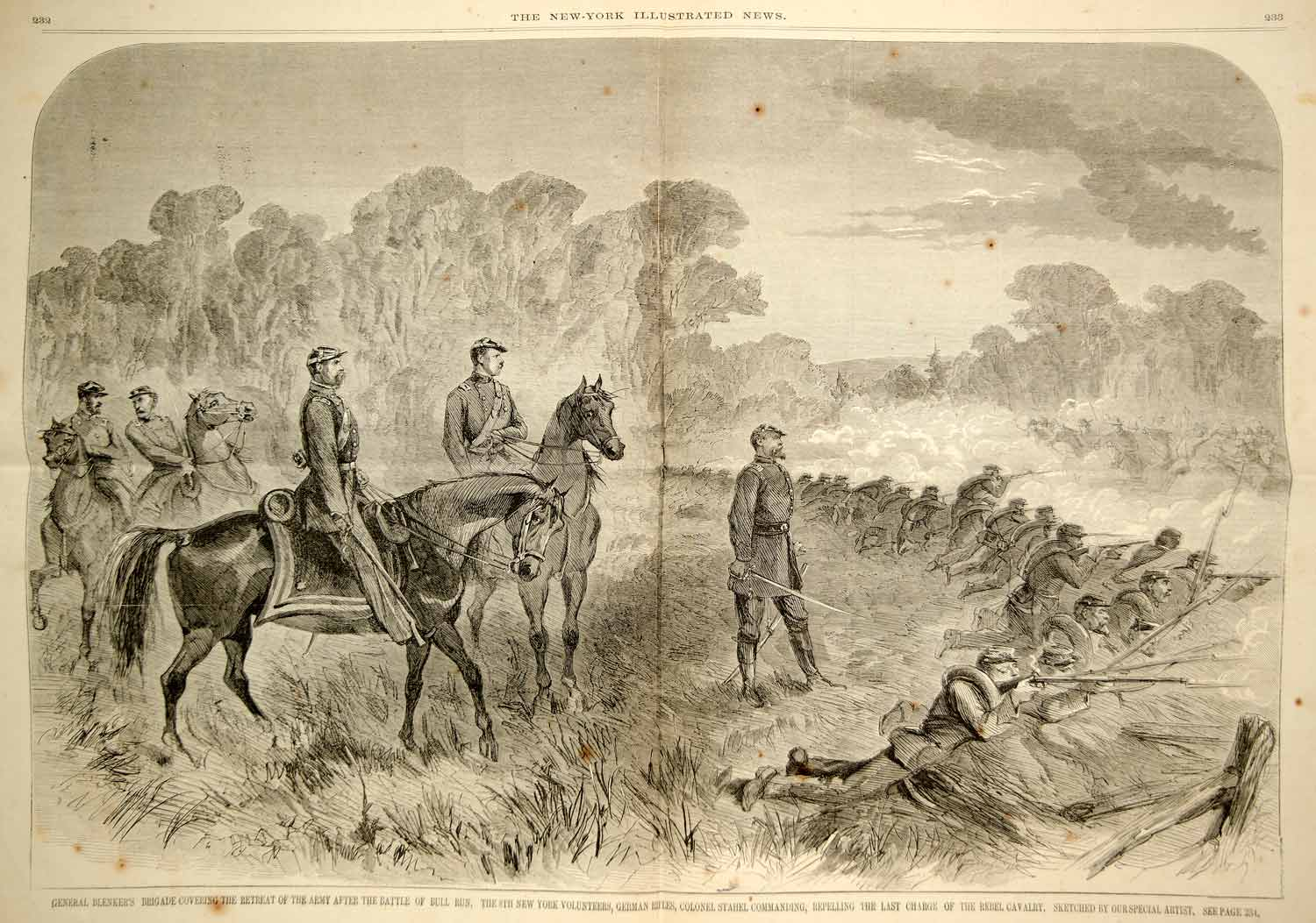 1861 Wood Engraving First Battle Bull Run Manassas Union Retreat Civil War NYN1