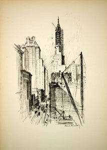 1928 Photolithograph New York City 59th Street Construction Vernon H Bailey NYS1