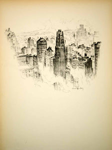 1928 Photolithograph New York City Skyline Skyscrapers Vernon Howe Bailey NYS1 - Period Paper