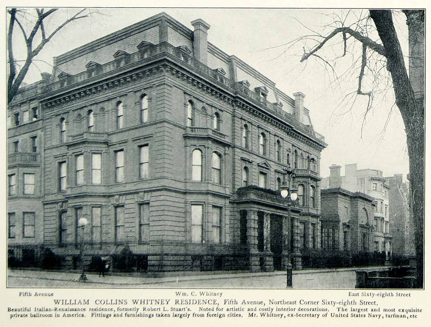1903 Print William Collins Whitney Historical Architecture Manhattan NYV1