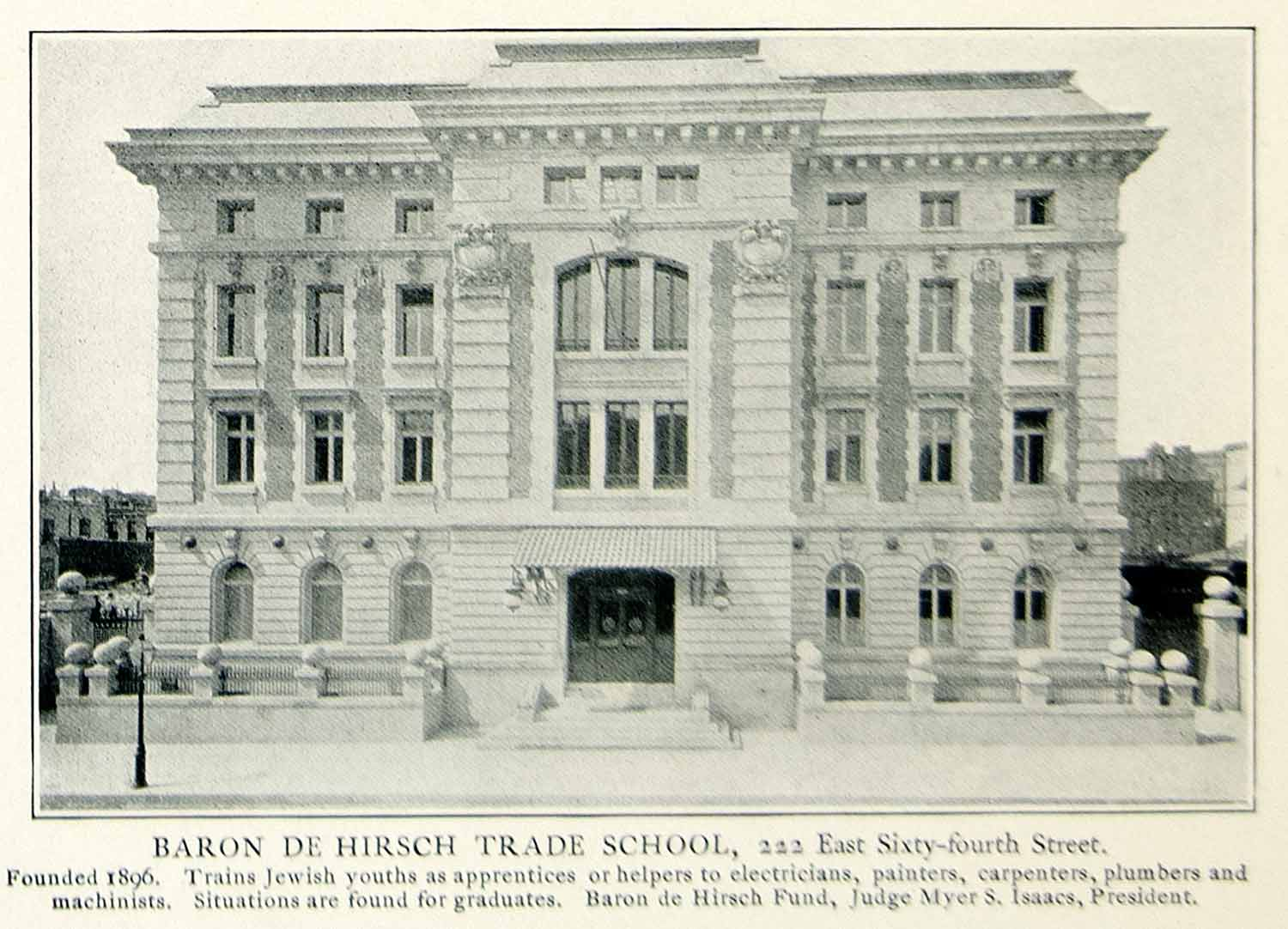 1903 Print Baron Hirsch Trade School 222 East Sixty-fourth Street Myers NYV1