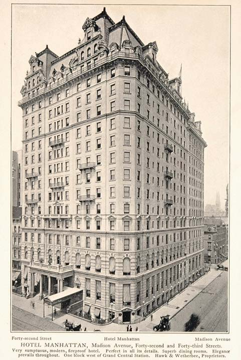1903 Hotel Manhattan 42nd Street New York City Print - ORIGINAL HISTORIC NY