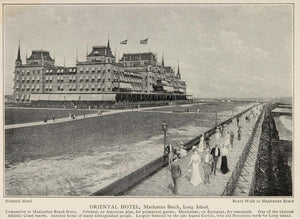1903 Oriental Hotel Manhattan Beach Long Island Print ORIGINAL HISTORIC IMAGE NY