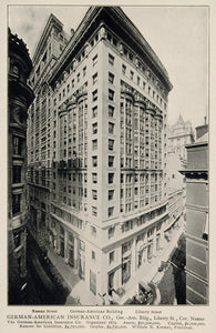 1903 German-American Insurance Co. Building NYC Print ORIGINAL HISTORIC IMAGE NY