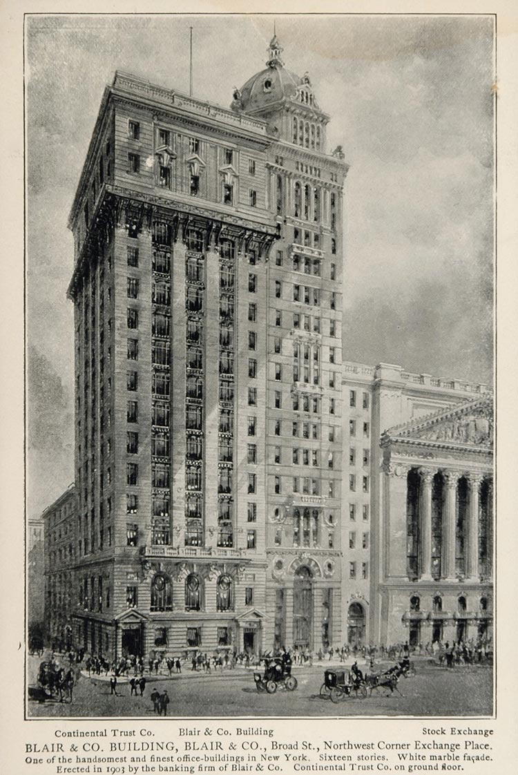 1903 New York City Print Blair & Co Building Exchange ORIGINAL HISTORIC IMAGE NY