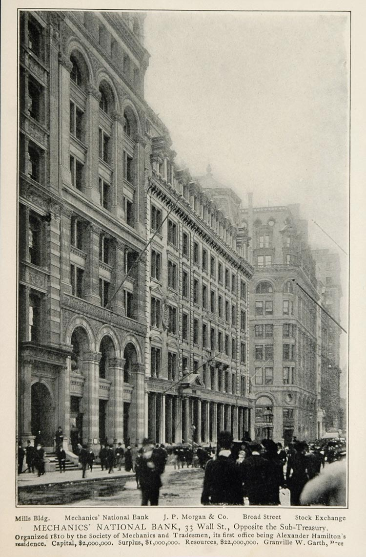 1903 New York City Print Mechanics National Bank Garth ORIGINAL HISTORIC NY
