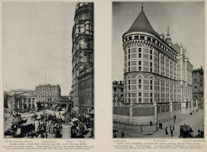 1903 New York City Print Park Row Printing City Prison ORIGINAL HISTORIC NY