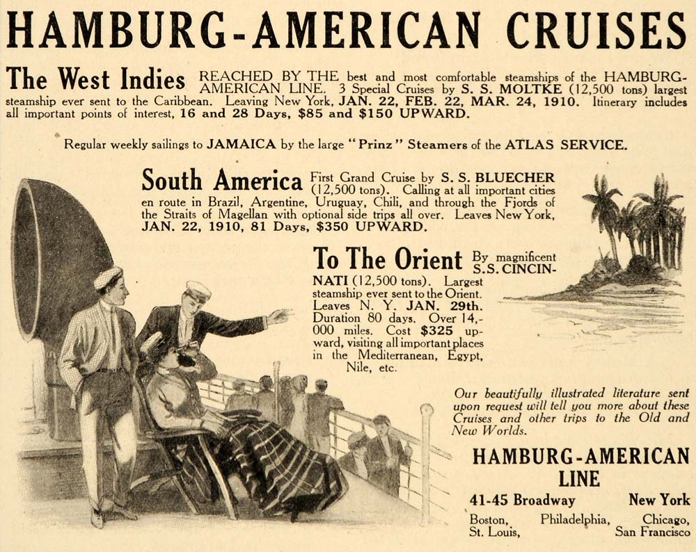 1909 Ad Hamburg-American Cruises Travel Orient Ship Deck Chair S.S. Bluecher OD1
