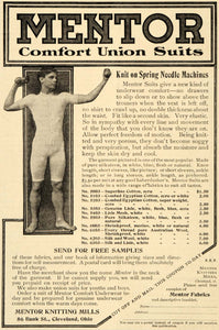1908 Ad Mentor Union Suit Man Knitting Mills 86 Bank St Cleveland Ohio OD1