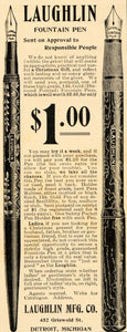 1901 Vintage Ad Laughlin Fountain Pen Detroit Michigan - ORIGINAL OD1