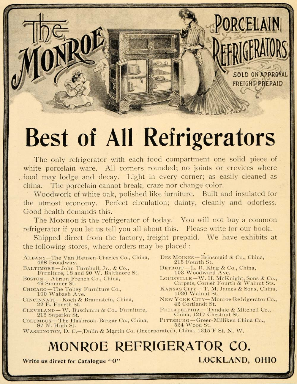 1902 Ad Monroe Refrigerator Icebox Antique Lockland OH - ORIGINAL OD1