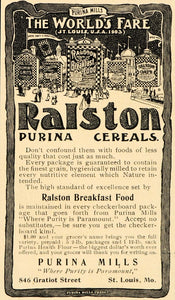 1901 Ad Ralston Purina Mills Breakfast Cereal Food Fare - ORIGINAL OD1