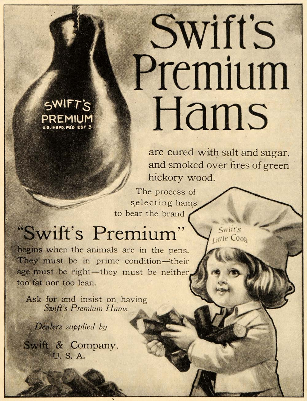 1911 Ad Swift Company Premium Hams Cured Hickory Wood - ORIGINAL ADVERTISING OD1