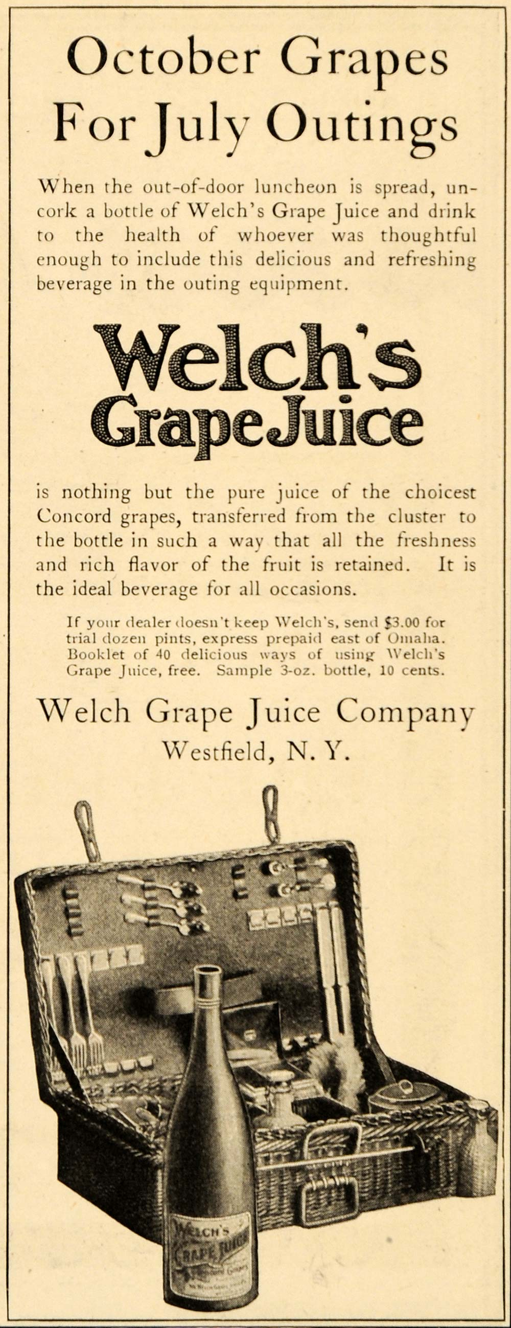 1906 Ad Antique October Grapes Welchs Juice Company - ORIGINAL ADVERTISING OD1