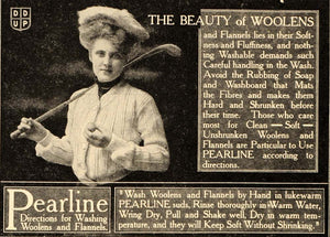 1907 Antique Ad Pearline Flannels Woolens Fabric Golfer - ORIGINAL OD1