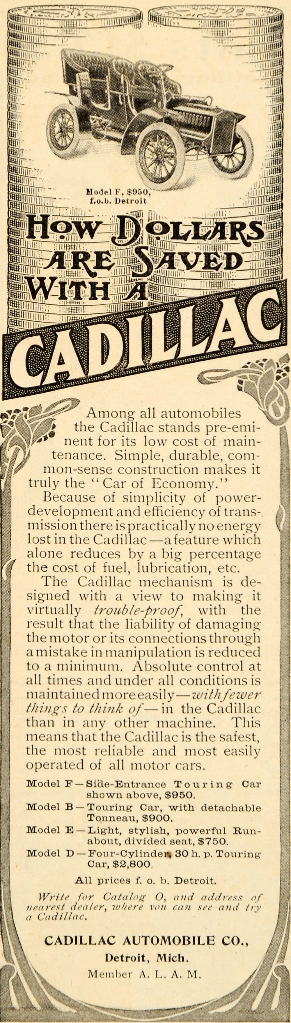 1905 Ad 4 Cylinder Touring Cadillac Car Automobile - ORIGINAL ADVERTISING OD1