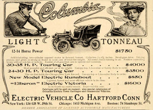 1904 Ad Columbia Light Tonneau Elberon Electric Car - ORIGINAL ADVERTISING OD1