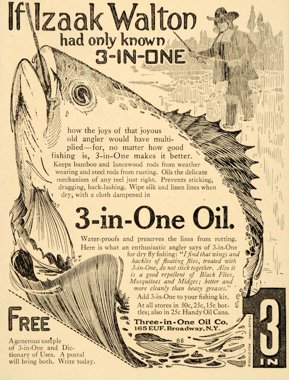1917 Ad 3 In One Oil Company Fishing Line Izaak Walton - ORIGINAL OD1