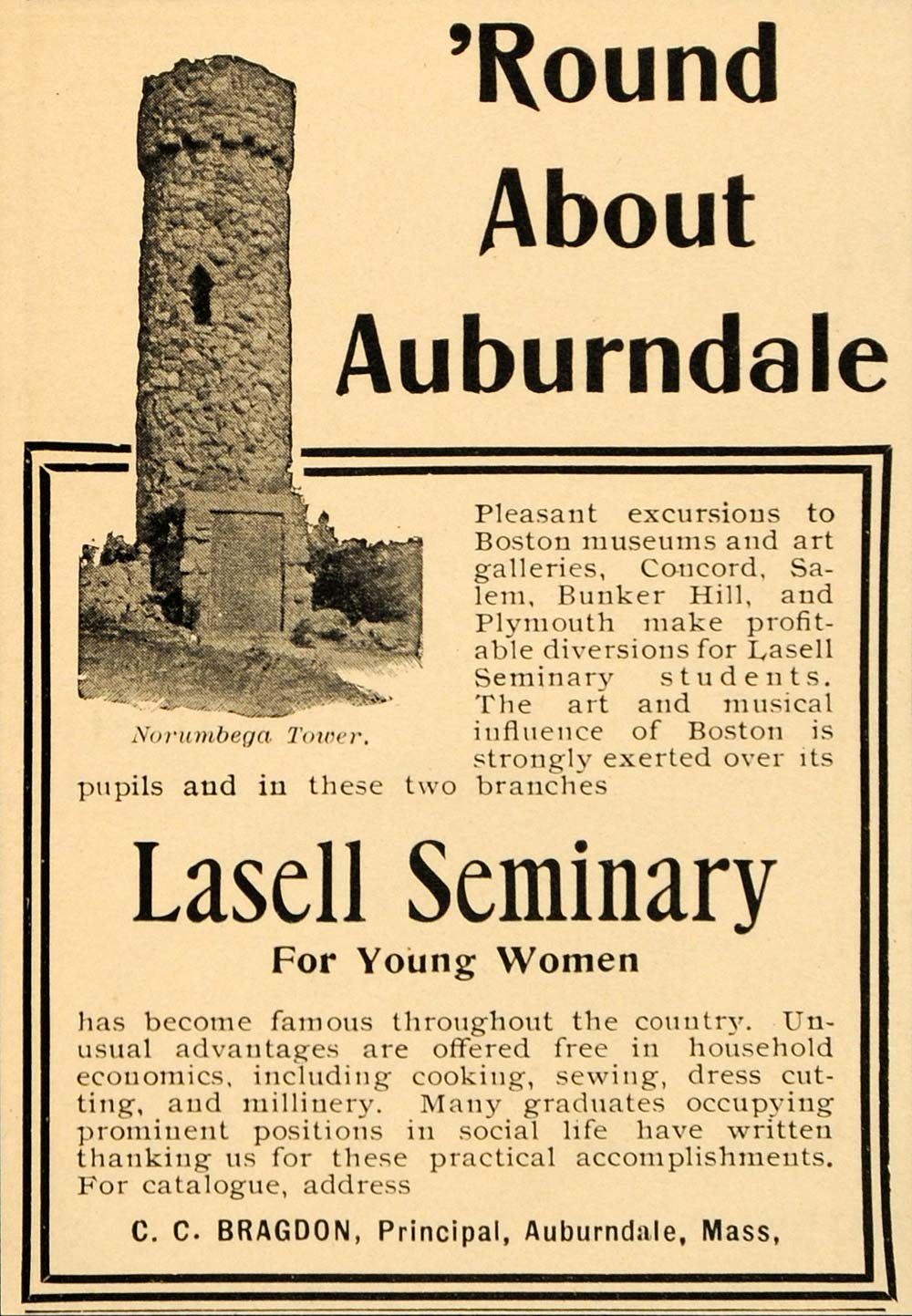 1902 Ad Auburndale Lasell Seminary Women Norumbega - ORIGINAL ADVERTISING OD1