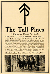 1922 Ad Tall Pines Girls Camp Summer George Bennington - ORIGINAL OD2