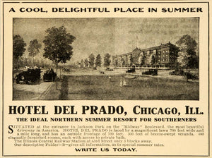 1909 Ad Hotel Del Prado Resort Chicago Jackson Park - ORIGINAL ADVERTISING OD2