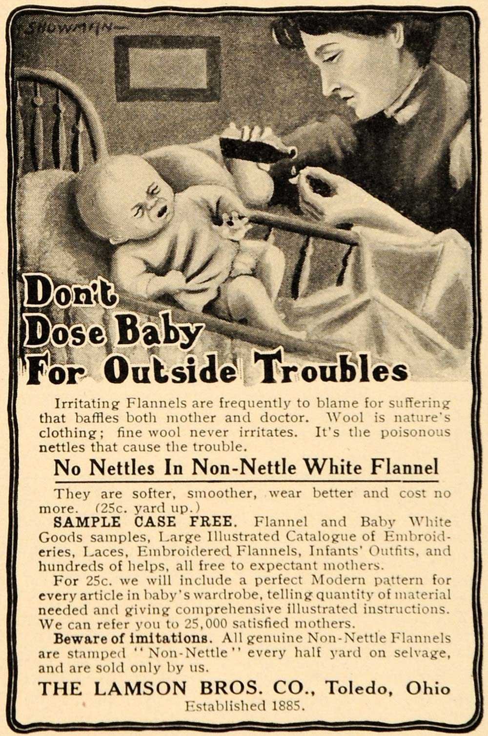 1909 Ad Wool Lamson Brothers Baby Non Nettle Flannel - ORIGINAL ADVERTISING OD3