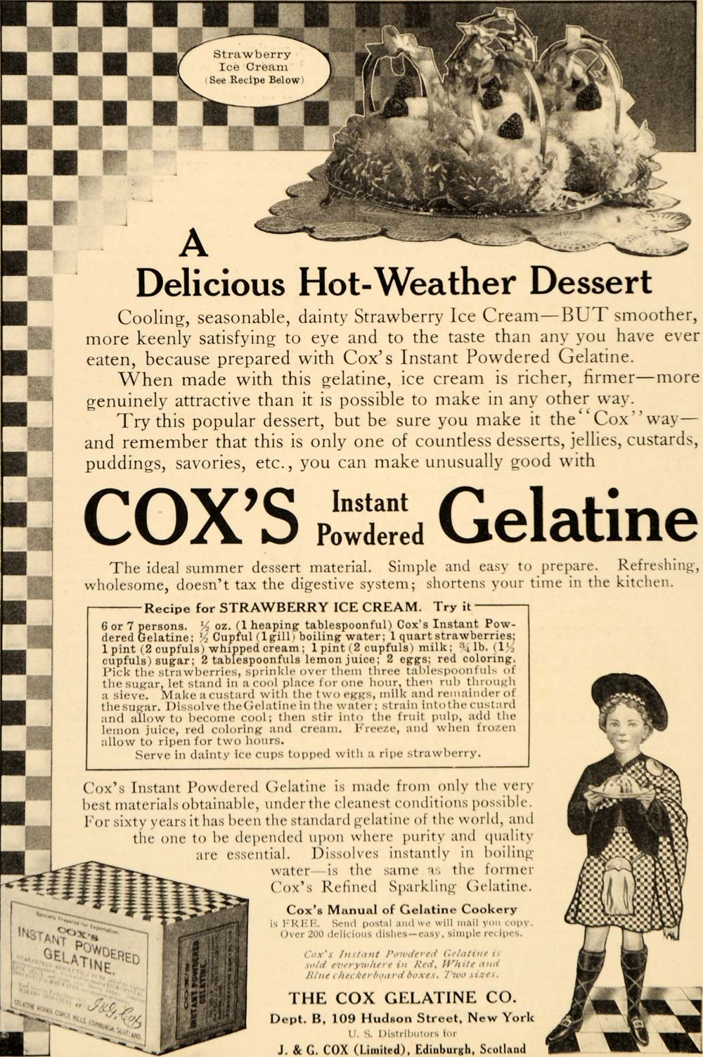 1910 Ad Coxs Instant Powdered Gelatine Ice Cream Recipe - ORIGINAL OD3