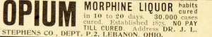 1899 Ad Opium Drug Alcohol Cure Dr. Stephens Lebanon OH - ORIGINAL OLD1A