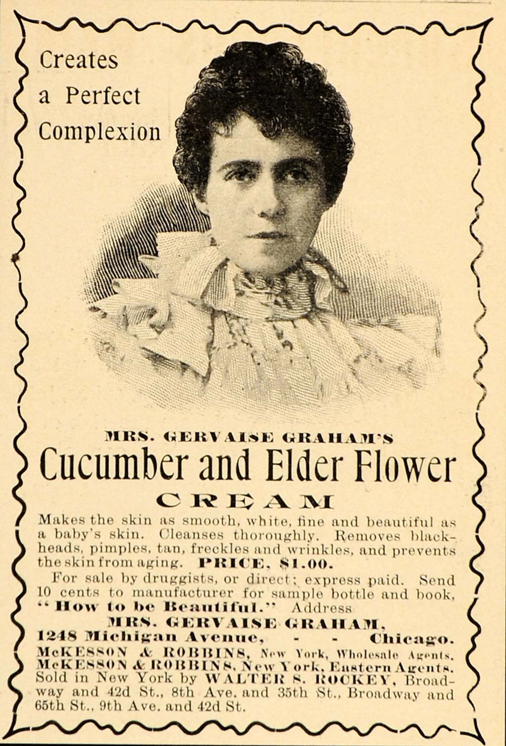 1899 Vintage Ad Cucumber Elder Flower Beauty Face Cream - ORIGINAL OLD1A