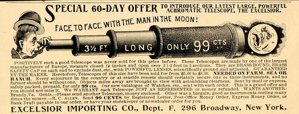 1901 Vintage Ad Excelsior Achromatic Brass Telescope - ORIGINAL OLD1A - Period Paper