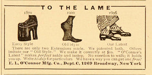 1906 Vintage Print Ad Shoe Extensions Heightening Lame - ORIGINAL ADVERTISING