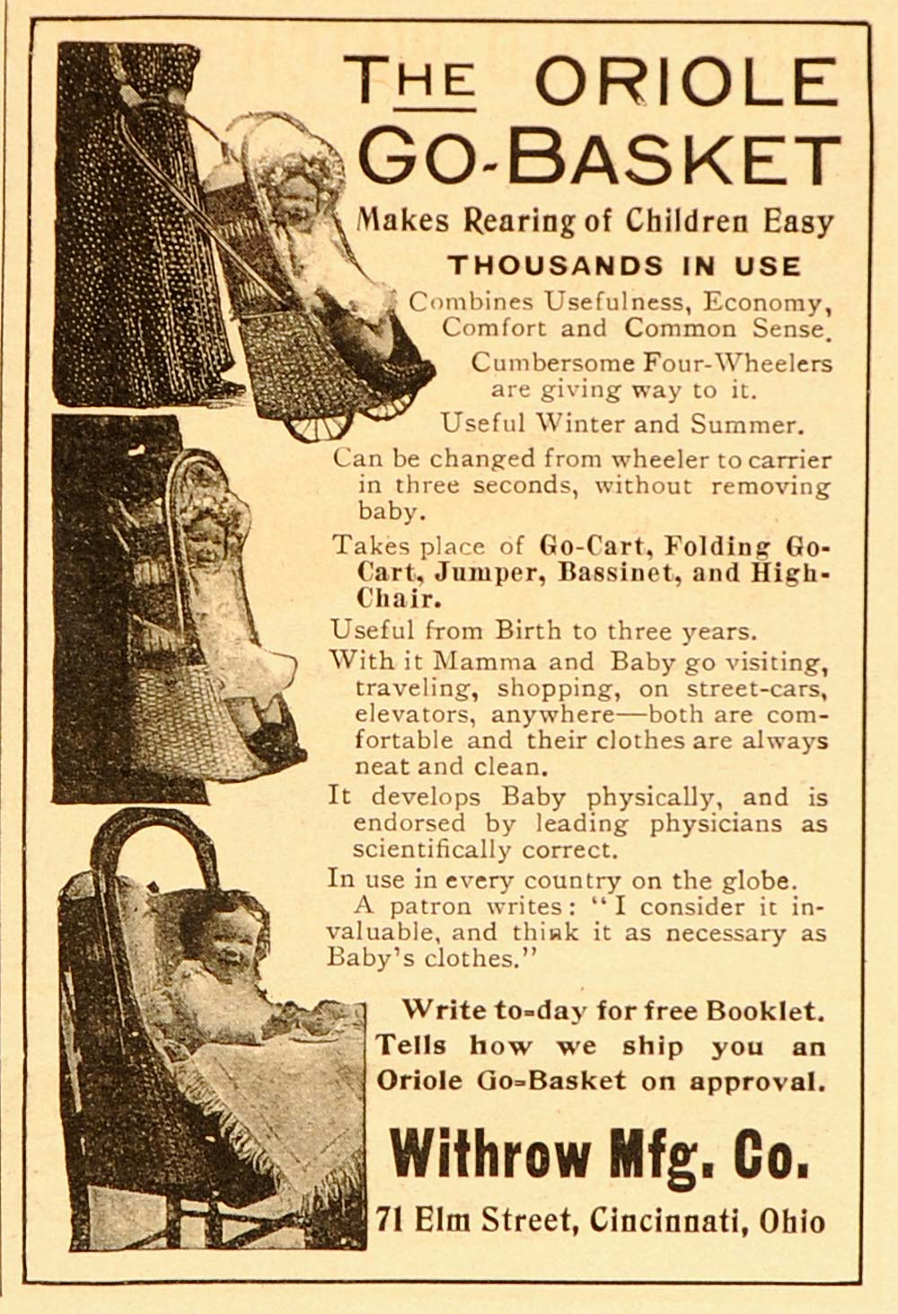 1906 Vintage Ad Oriole Go Basket Baby Carriage Stroller - ORIGINAL ADVERTISING