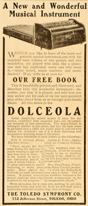 1906 Ad Dolceola Musical Instrument Toledo Symphony Co. - ORIGINAL ADVERTISING