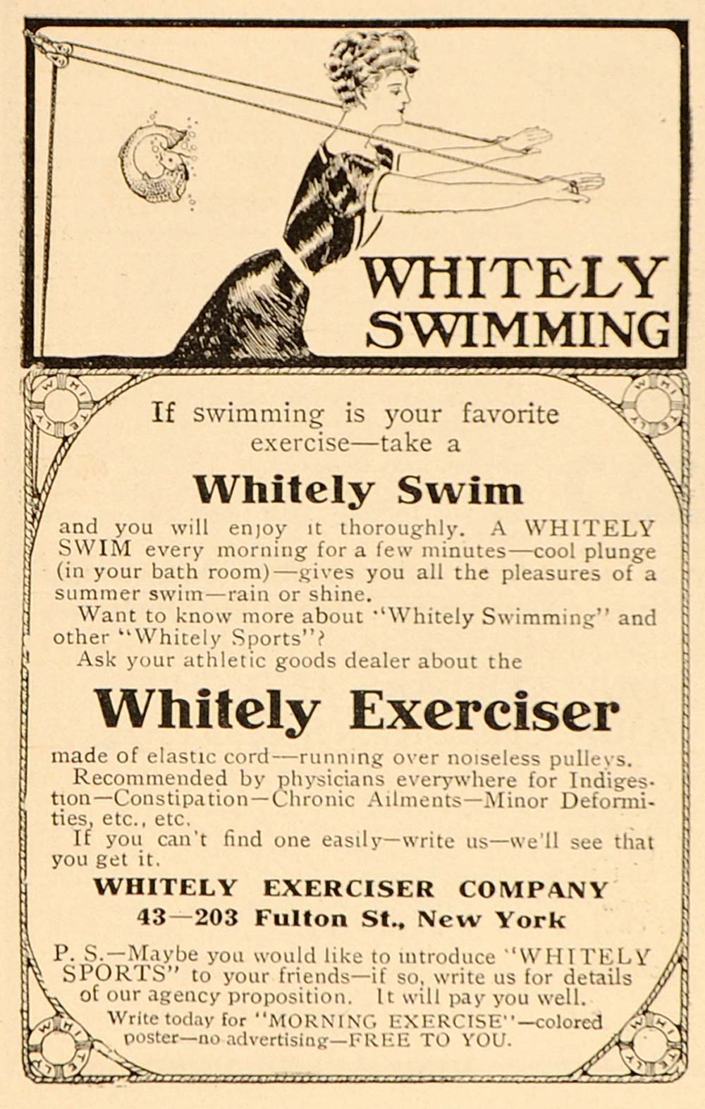 1906 Vintage Ad Whitely Exercise Machine Pulley Fitness - ORIGINAL ADVERTISING