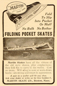 1908 Vintage Print Ad Martin Folding Pocket Ice Skates - ORIGINAL ADVERTISING