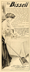 1908 Vintage Ad Bissell Carpet Sweeper Cleaning House - ORIGINAL ADVERTISING