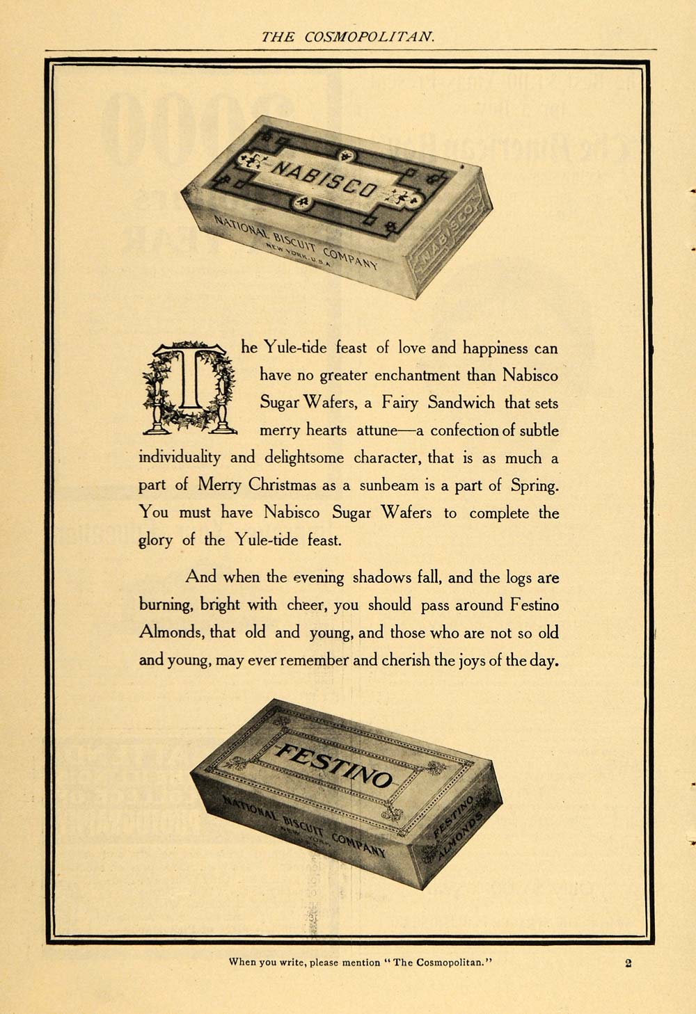 1904 Vintage Ad Nabisco Sugar Wafers Festino Almonds - ORIGINAL OLD3A