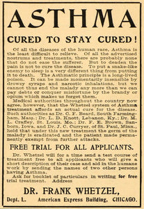 1904 Ad Asthma Cure Medical Quackery Dr. Frank Whetzel - ORIGINAL OLD3A