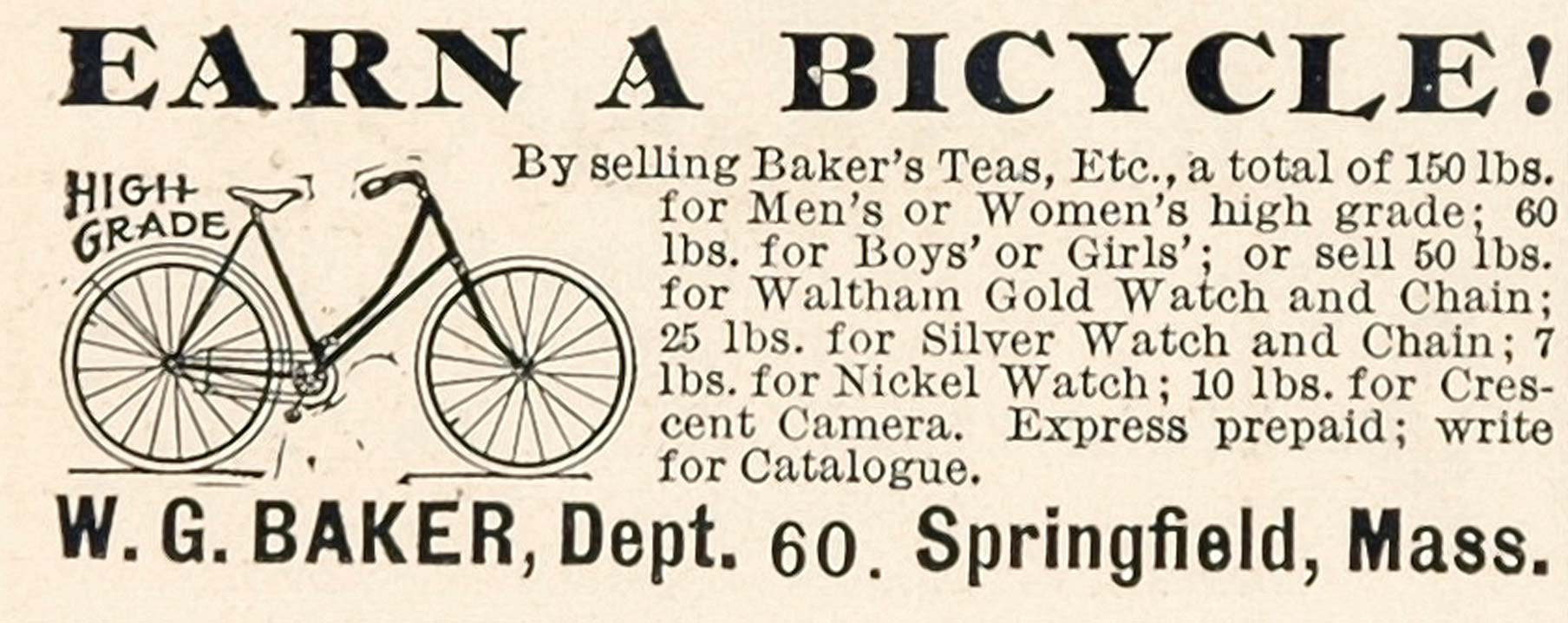 1898 Vintage Ad Bicycle Bike W. G. Baker Springfield MA - ORIGINAL OLD3