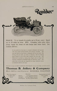 1905 Ad Rambler Auto Model H Thomas B. Jeffery Kenosha - ORIGINAL OLD3