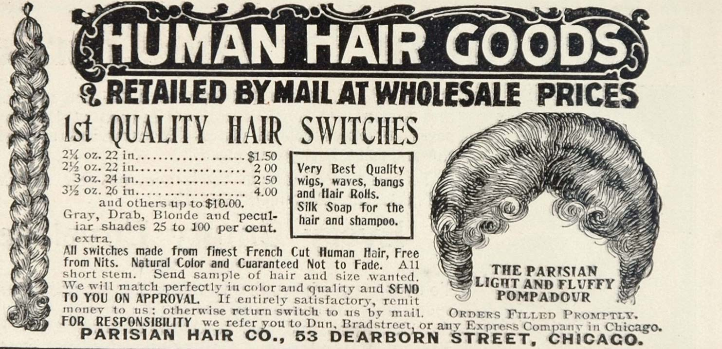 1902 Ad Parisian Hair Co. Goods Wigs Switches Chicago - ORIGINAL OLD3