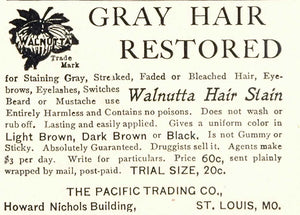 1904 Ad Walnutta Hair Stain Color Dye Pacific Trading - ORIGINAL OLD3