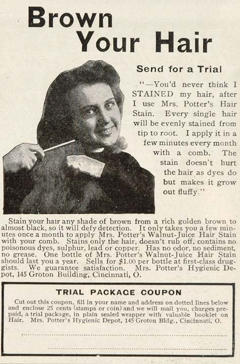 1906 Ad Mrs. Potters Walnut Juice Hair Stain Color Dye - ORIGINAL OLD3