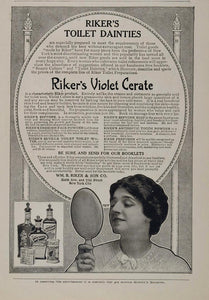 1907 Vintage Ad Riker's Violet Cerate Cosmetic Cream - ORIGINAL ADVERTISING OLD3
