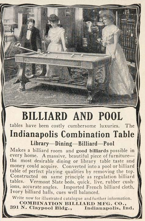 1903 Ad Billiard Pool Table Indianapolis Combination - ORIGINAL ADVERTISING OLD3
