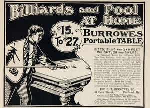 1901 Ad Burrowes Portable Pool Billiard Game Table - ORIGINAL ADVERTISING OLD3